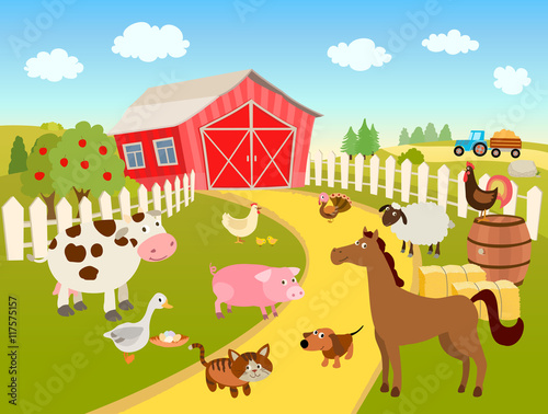Wall Murals Ranch cartoon farm scene illustration with domestic birds, animals, farmhouse, tractor