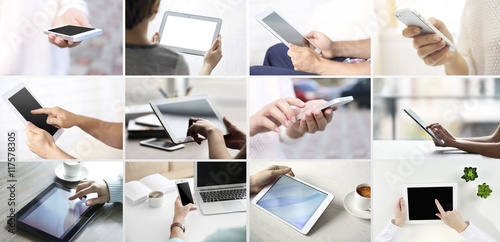 Fotografia  Hand holding mobile phone and digital tablet , collage of different photos