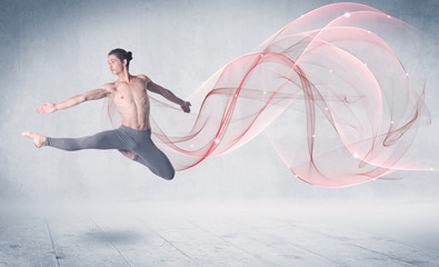 FototapetaDancing ballet performance artist with abstract swirl