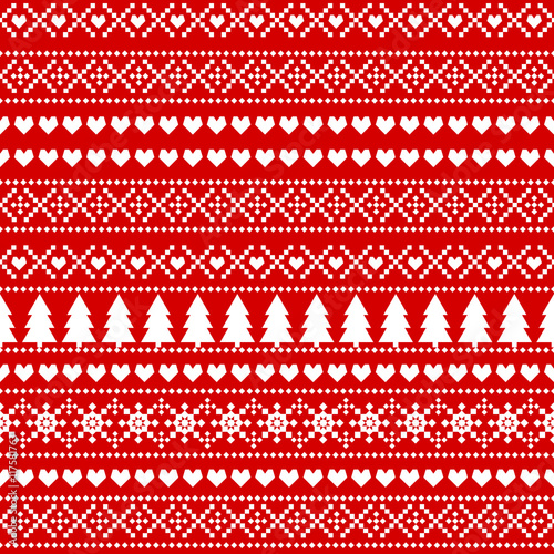 Seamless Christmas background, card - Scandinavian sweater style. Simple Christmas pattern - Xmas trees, hearts, snowflakes on red background.