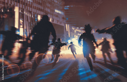 Photo  man running away from zombies in night city,illustration,digital painting