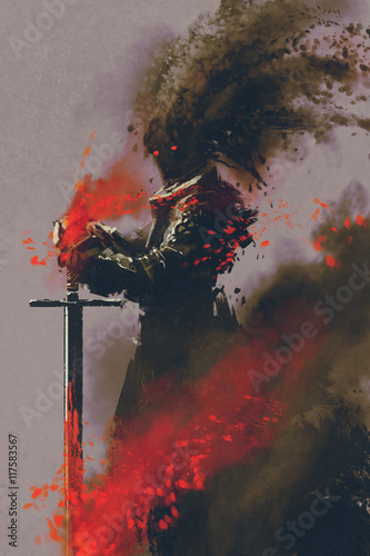 Photo  dark warrior in the armor with the sword,illustration,digital painting