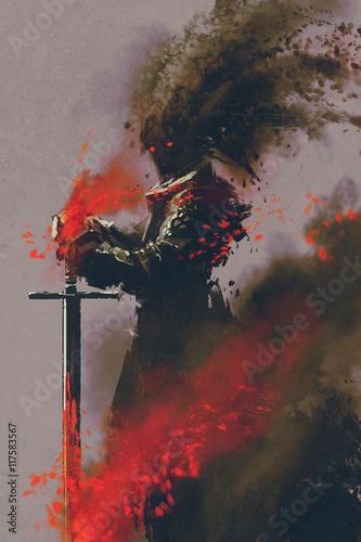 Leinwand Poster Dunkler Krieger in der Rüstung mit der Klinge, Illustration, digitale Malerei