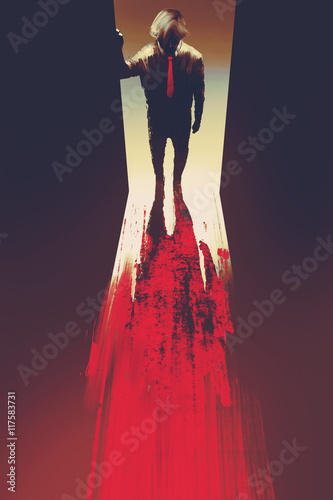 Foto op Aluminium Grandfailure man standing in front of the door,murder concept,illustration painting
