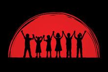 Children Holding Hands Designed On Sunset Background Graphic Vector.