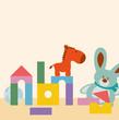 Bauklötze und Kuscheltiere im Kinderzimmer Vektor