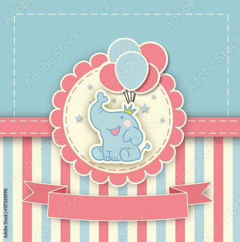 Baby Shower Karte Text.Babyshower Karte Mit Blauem Elefanten Vektor Buy This