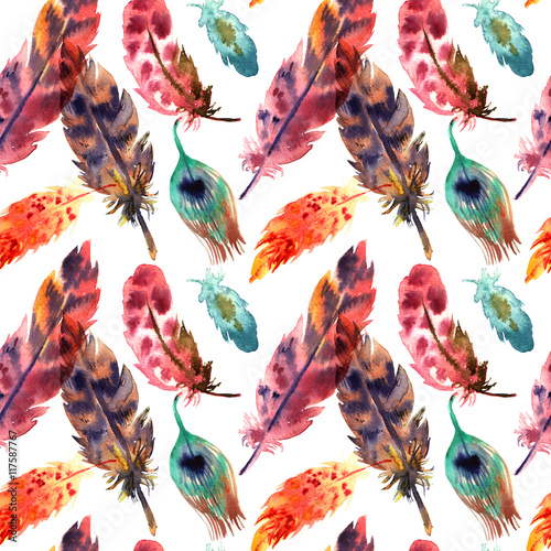 Cotton fabric sketch of feather