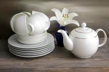 White Porcelain Tea Set - Stac...