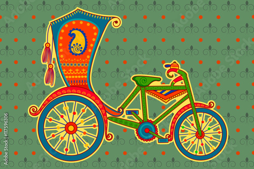 Fotografia, Obraz  Cycle rickshaw in Indian art style