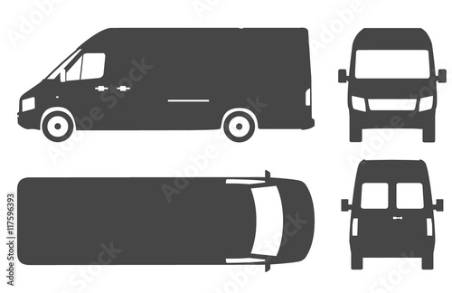 Leinwand Poster Commercial van bus silhouette vector icon