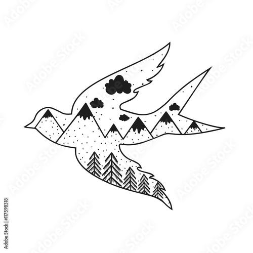 sztuka-wektor-recznie-rysowane-typografia-plakat-z-ptak-sylwetka-las-i-gory-wewnatrz