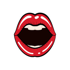 mouth female lips red retro icon. Isolated and flat illustration. Vector graphic