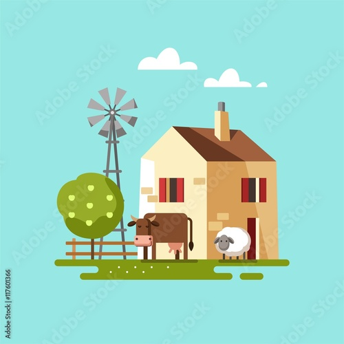 Foto  Farm house. Vector illustration.