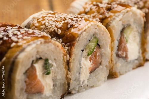 delicious sushi rolls  - 117606370