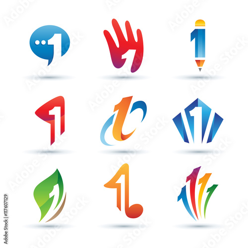 Fototapeta Set of Abstract Number 1 Logo - Vibrant and Colorful Icons Logos obraz