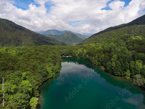 Staande foto Rivier Beautiful nature of Biograd lake in evergreen woods of Bjelasica mountains, Kolasin, Montenegro