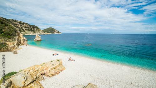 Fotomural Panoramic view over Sansone beach on Elba island, Italy