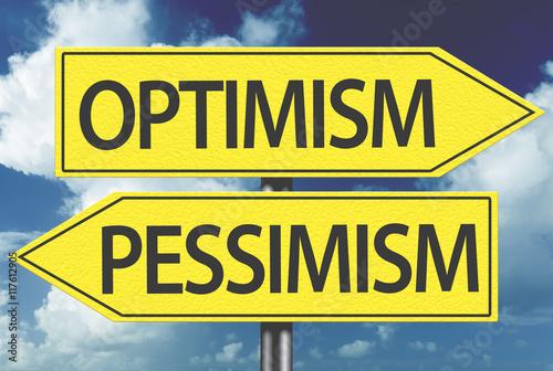 Fotografia  Optimism x Pessimism yellow sign
