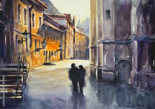 Obrazy do salonu   ludzie-idacy-ulica-panorama-miejska