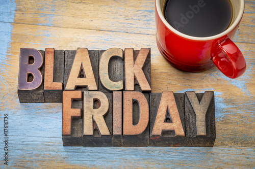 Fototapety, obrazy: Black Friday banner in wood type