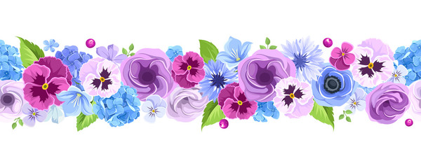 Panel SzklanyVector horizontal seamless background with blue and purple pansies, cornflowers, lisianthuses, bluebells and hydrangea flowers.