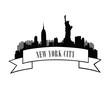 New York City Skyline. Vector USA landscape. Cityscape with famous skyscrape