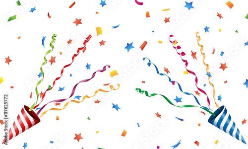 Fotografie, Obraz  Exploding party popper with confetti and streamer Vector