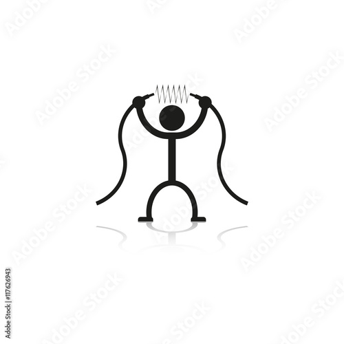 Fotografia  A person with a high-voltage cable in the hands. Vector icon.