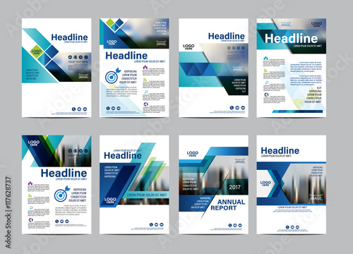 Fotografie, Obraz  Blue Brochure Layout design template