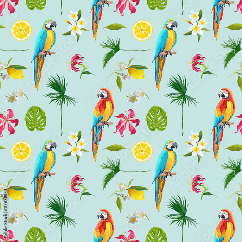 Fotobehang Papegaai Tropical Background. Toucan Bird. Cactus Background. Tropical Flowers