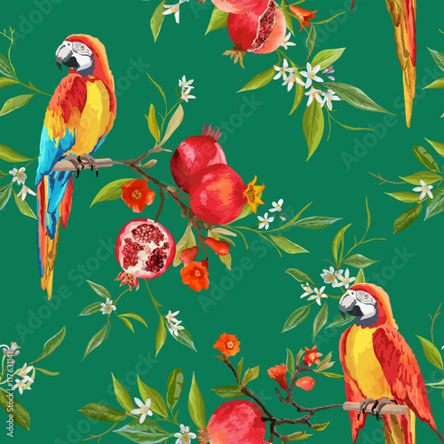 Deurstickers Papegaai Tropical Flowers, Pomegranates and Parrot Birds Background
