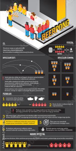 Fotografie, Obraz  beer pong - infografika