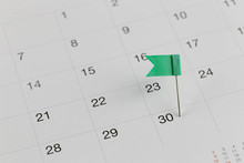 Green Pins To Wildcats On The Calendar Beside The Number End Of