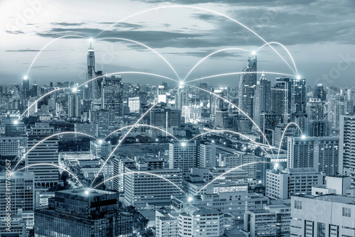 Fotografia  Network business connection in Bangkok, Thailand