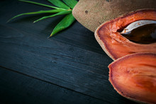 Delicious Mexican Sapote Mamey, Focus On Center Of Table