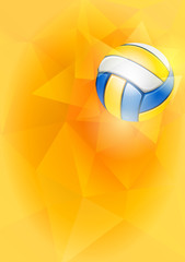 Panel Szklany Siatkówka Vertical Background on Volleyball Theme with Flying Volleyball Ball on Unusual Triangular Background. Realistic Editable Vector Illustration.