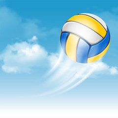 Fototapeta Sport Color Volleyball Ball Flying on Cloudy Sky Background. Realistic Vector Illustration.