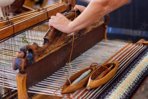 Weaving Loom and thread of yarn Fototapeta