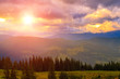 Picturesque Carpathian mountains landscape, scenery of sunset. Ukraine, Europe.