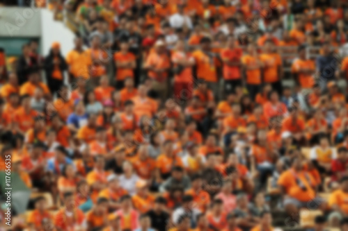 blurry of Soccer fans in a match and Spectators at football stad