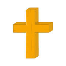 Christian Cross Icon In Cartoon Style On A White Background
