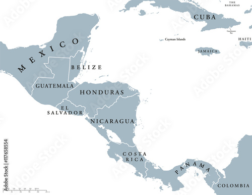 Central America countries political map with national borders, from ...