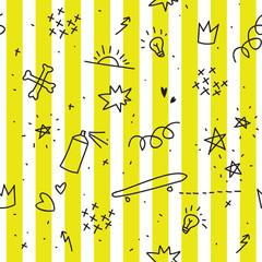 Tapeta Teenager theme seamless pattern with yellow stripes