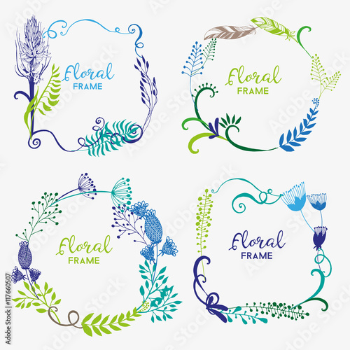 floral frame Wall mural