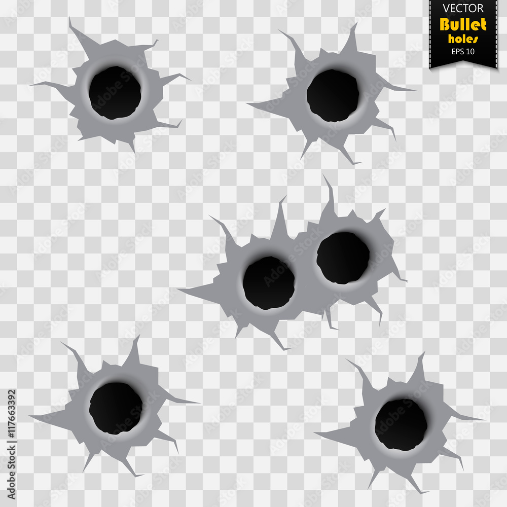 Fototapeta Bullet holes isolated. Vector illustration. Collection of bullet holes - stock vector