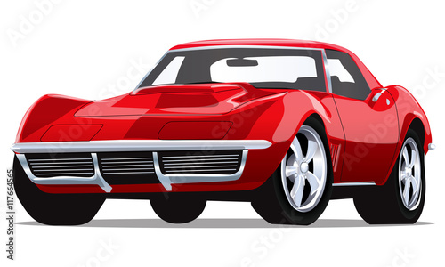 Staande foto Cartoon cars Vector Vintage Classic Car with one layer background color for easy change