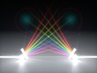 canvas print picture - 3d illustration dual prism and refraction light ray.