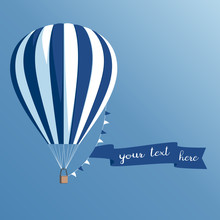 Hot Air Balloon With A Banner On A Blue Background, Striped Hot Air Balloon With Ribbon And Flags Flying In The Sky