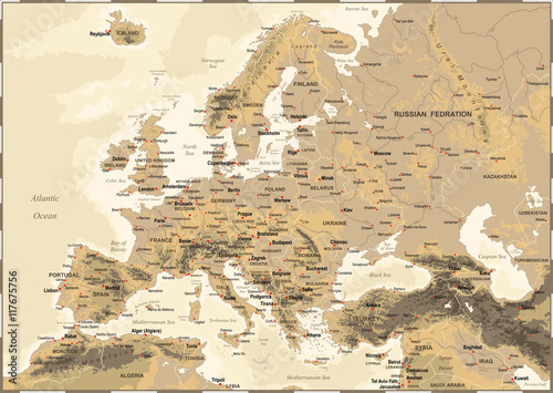 Europe - Vintage Physical Map Canvas Print